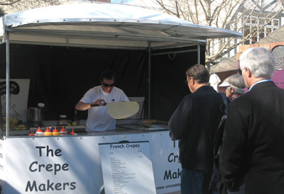 Fresh crepes are available every weekend at the Christchurch Arts Centre